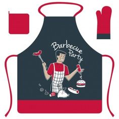 Coffret Tablier+Gants+Manique Barbecue Mr