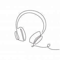 One continuous line drawing headphones music theme vector illustration minimalis. One continuous line drawing headphones music theme vector illustration minimalis , 2020 Music Drawings, Outline Drawings, Minimalist Drawing, Minimalist Art, Instagram Storie, Sketch Background, Minimal Drawings, Line Art Design, Continuous Line Drawing