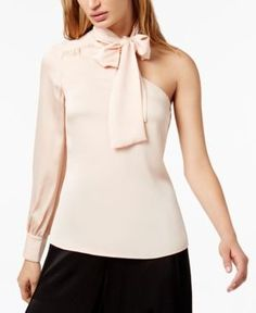 1.state One-Shoulder Bow Blouse - Pink XL