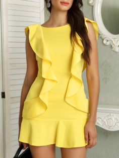 Style:Casual Pattern Type:Solid Color Material:Polyester Neckline:O-neck Sleeve Style:Short Sleeve Decoration:Ruffles Length:Mini Occasion:Cocktail & Party,Workwear Package Include:Dress Package In. Trend Fashion, Look Fashion, Womens Fashion, Chic Outfits, Fashion Outfits, Fashion Tips, Cute Short Dresses, Backless Mini Dress, Mini Vestidos