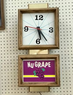 Vintage Nu Grape Wall Clock   Works  $125  Mid Century Dallas Booth #766  Lula B's in the OC! 1982 Ft. Worth Ave. Dallas, TX 75208