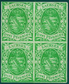 "Old German States Saxony, Michel 2IIa- 3 Pfg. dark blue green, later issue, wonderful block of four, wonderful fresh colors, on all sides good margins with complete original gum, in perfect condition unused. Unused blocks of four of this issue are very rare, whereby it be here about of an of the most beautiful known copies act! Photo expertize ""perfect quality"" Rismondo BPP."