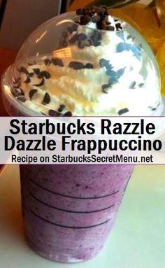 Starbucks Razzle Dazzle Frappuccino Colour your day with this refreshing purple Frappuccino! It's fruity, chocolatey and works well as a dessert or a fun treat! Starbucks Secret Menu Drinks, Starbucks Coffee, Starbucks Hacks, Frappuccino Recipe, Starbucks Frappuccino, Smoothies, Razzle Dazzle, Secret Recipe, Do It Yourself Home