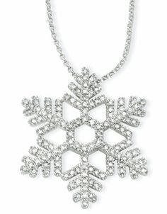 Diamond Snowflake Necklace in 14k White Gold