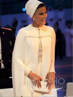 Sheikha Mozah in white Valentino couture