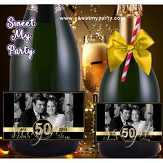 50th 60th 40th 30th Anniversary Champagne labels with photo, Anniversary Champagne Bottle labels with photo, (2)