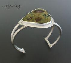 Silver Cuff, Silver Bracelet, Silver Jasper Cuff, Sterling Silver, Rain Forest Jasper, Metalsmith Jewelry, Handmade, Statement Cuff by LjBjewelry on Etsy https://www.etsy.com/listing/210904361/silver-cuff-silver-bracelet-silver