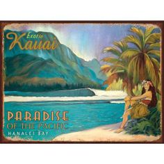 """Exotic Kauai Metal Sign: Surfing and Tropical Decor Wall Accent by OMSC. Save 40 Off!. $14.99. This sign measures 16"""" x 12"""" (400 mm x 300 mm). Eco-friendly process, hand-made in the USA. Ships in Ploy-bag for complete protection. Rounded corners with holes for easy hanging. Glossy, full-color, enamalized imaged baked onto thick, 24-gauge steel. The """"Exotic Kauai Metal Sign"""" is hand-made in America. These sturdy metal signs will perfectly accent any kitchen, home, bar, pub, game..."""