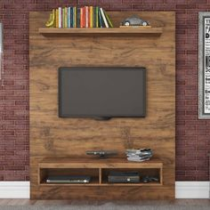 Painel Home para TV até 50 Polegadas 2 Nichos Dalla Costa Nobre - MadeiraMadeira Tv Unit Design, Tv Wall Design, House Design, Home Para Tv, Painel Home, Tv Unit Furniture, Tv Wall Decor, Wall Tv, Tv Panel