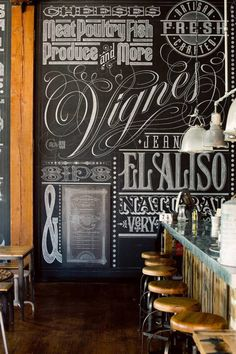 """would love a """"fake"""" vintage bar display - and the chalk board is cool - shop display chalk"""