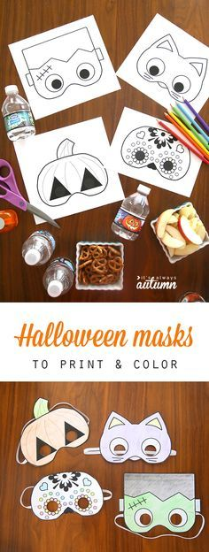 What a great idea for classroom Halloween parties! Free printable Halloween masks that kids can color in and cut out all by themselves. Easy and fun Halloween craft activity for kids. halloween crafts for kids Masque Halloween, Classroom Halloween Party, Soirée Halloween, Halloween Birthday, Trendy Halloween, Halloween Bottles, Birthday Kids, Birthday Crafts, Classroom Party Ideas