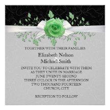 Ribbon Green Rose Floral Damask Wedding Invite