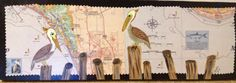 Pelicans on pilings sign by russgang on Etsy