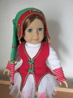 Fant'sy Elf Hat PDF Pattern for 18 Dolls image 2 Elf Clothes, Girl Doll Clothes, Doll Clothes Patterns, Doll Patterns, Custom American Girl Dolls, American Girl Clothes, American Girls, Christmas Elf Doll, Christmas Clothes