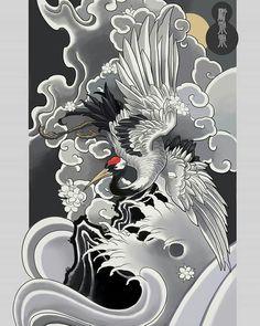 Japanese Koi Fish Tattoo, Tattoo Japanese Style, Japanese Tattoo Designs, Japanese Sleeve Tattoos, Japanese Bird, Japanese Ink Painting, Japanese Drawings, Asian Tattoos, Black Ink Tattoos
