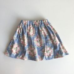 Floral summer skirt, Tilda fabric, blue skirt, dancing skirt, 4 years by TheElsiCraft on Etsy https://www.etsy.com/no-en/listing/595531951/floral-summer-skirt-tilda-fabric-blue
