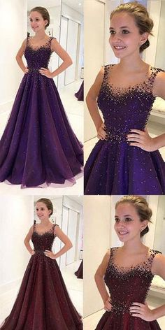 Purple Prom Dresses,Beading Prom Dress,A Line Prom Gown,Long Evening Dresses,Tulle Evening Gown on Storenvy Best Prom Dresses, Long Prom Gowns, Homecoming Dresses, Bridesmaid Dresses, Formal Dresses, 1950s Dresses, Prom Long, Vintage Dresses, Pretty Dresses
