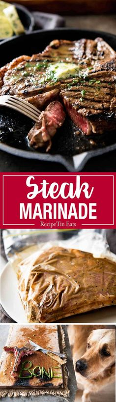 Steak Marinade - A simple, magical marinade that truly tenderises, while adding flavour AND making the steak juicy.… Steak Marinade - A simple, magical marinade that truly tenderises, while adding flavour AND making the steak juicy. Steak Recipes, Grilling Recipes, Cooking Recipes, Game Recipes, Recipies, Pasta Recipes, Carne Asada, Beef Steak Marinade, Steak Marinades