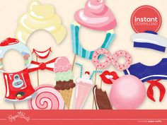 INSTANT DOWNLOAD - Printable Sweet Shoppe Photo Booth Props from Paper Built