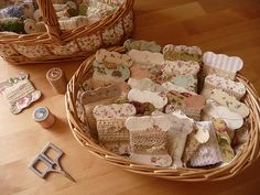 Ribbon and floss winders covered with pretty papers or fabrics