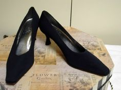 """STUART WEITZMAN #36 Size 9.5 NEW! Navy Blue Fabric - Take the """"SHOE REVIVAL TRIVIA CHALLENGE!"""" Get 50 FRIENDS to LIKE US by December 31, 2012 and provide the correct answer to this Shoe Trivia question… you can select any footwear at ShoeRevival.com for $10.00! (does not include shipping).     Shoe Trivia! – Who and what year was the first pair of shoes designed? Send answer to customerservice@shoerevival.com"""
