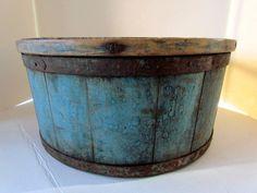 19th Century Antique Primitive Dry Measure In Original Blue Paint
