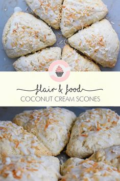 These coconut cream scones would make the perfect addition to an Easter Brunch. Coconut always reminds me of Easter.maybe it& because the flakes resemble the fake grass in my Easter baskets when I was little! Tea Recipes, Sweet Recipes, Breakfast Recipes, Dessert Recipes, Cooking Recipes, Scone Recipes, Cocktail Recipes, Recipies, Coconut Scones Recipe
