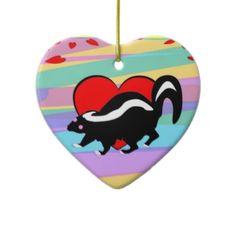 Cute Skunk Heart. Happy Anti-Valentines Day! Ornaments