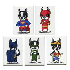 Super Heroes AND Boston Terriers?! Too adorable! Justice Magnets 5 Pack, $21, now featured on Fab.