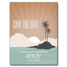 Retro Inspired Island Beach Wedding Save The Date Postcard