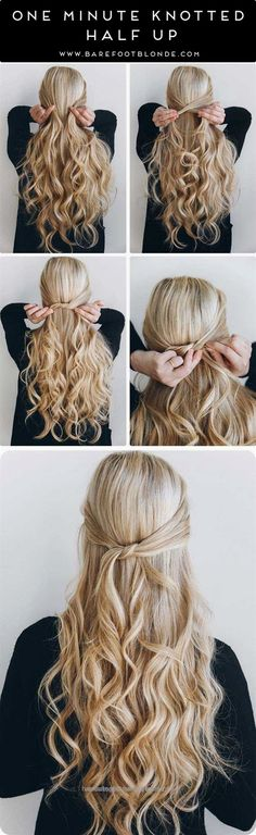 Outstanding Great Amazing Half Up-Half Down Hairstyles For Long Hair – One Minute Knotted Half Up – Easy Step By Step Tutorials And Tips For Hair Styles And Hair Ideas For Prom, For Th ..  The post ..
