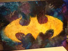 Batman melted crayon art.