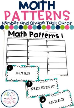 Math Patterns are so much to incorporate into the classroom, plus it aligns with and grade Common Core Standards. I use these task cards during my math centers! They include number and shape patterns. Math Patterns, Number Patterns, Shape Patterns, Teaching Numbers, Teaching Math, Teaching Ideas, Math Lesson Plans, Math Lessons, Math Stations