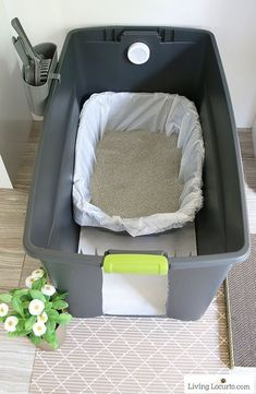 Cat Care A DIY Cat Litter Box Holder is a simple homemade way to hide a kitty litter box. Give your cat's space a fresh makeover! - A DIY Cat Litter Box Holder is a simple homemade way to hide a kitty litter box. Give your cat's space a fresh makeover!