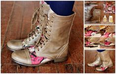 Fabric Accent | 14 DIY Boot upcycle projects. Warning: full list contains some wonderful and some just plain fugly