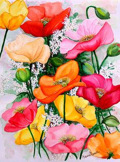 Mixed Poppies Painting by Karin Best - Mixed Poppies Fine Art Prints and…