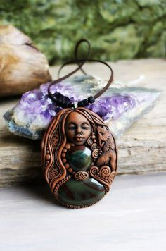 Wolf Spirit Animal Necklace with Bloodstone Gemstone. Handcrafted Clay.