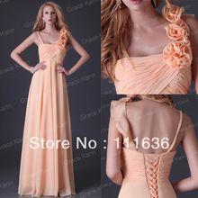 Livraison gratuite Stock une épaule en mousseline de soie robes de soirée parti longue robe de bal Sexy robe de soirée 2015 fleur CL3460(China (Mainland))