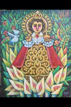Santo Nino, by Ninoy Lumboy, a Filipino artist who renders his art in a crosshatch of different colors.