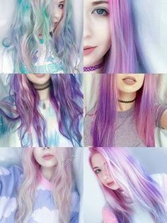 Colored Hair, purple, pink