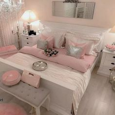People with flair for the unusual should consider pink for the bedroom. Different shades of pink can be used for coloring walls for your bedroom. Instead of using regular shades of light or dark pink, your pink bedroom decor can… Continue Reading → Pink Bedroom Design, Pink Bedroom Decor, Small Room Bedroom, Bedroom Vintage, Trendy Bedroom, White Bedroom, Bedroom Colors, Modern Bedroom, Bedroom Ideas