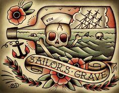 Tod durch Meer-Tattoo-Print von ParlorTattooPrints auf Etsy