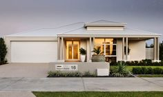 Explore our range of award winning home designs here. Choose your dream home design now with Dale Alcock. Available in Perth or the South-West. Exterior House Colors, Interior Exterior, Exterior Design, Style At Home, Front House Landscaping, Landscaping Ideas, House Elevation, Front Elevation, Facade House