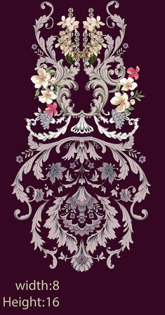 Embroidery designd on Behance Textile Prints, Textile Design, Textiles, Baroque Pattern, Pattern Art, Paisley Art, Design Seeds, Butterfly Wallpaper, Border Design