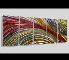 Golden Cosmic Abstract Contemporary Metal Painting Decor