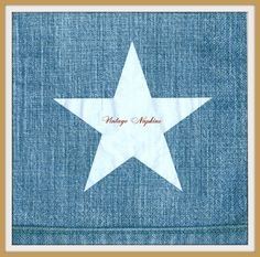 PAPER napkins for DECOUPAGE - White Star on Blue Jeans Pattern #239 by VintageNapkins on Etsy