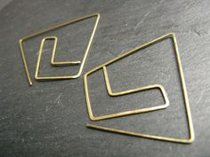 Golden Chevron, statement geometric earrings, pull through earrings, large polygon, hammered brass or silver, thin thread through