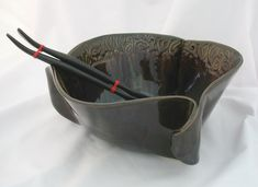 handbuilding pottery ideas | Hand Built Pottery Canadian Made Pottery Large Curly Bowl - Cinnamon ...