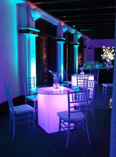 Love this LED Decor for a bar/bat mitzvah or wedding cocktail area