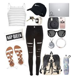 """""""idk ?"""" by kaleyyy00 ❤ liked on Polyvore featuring River Island, Glamorous, NIKE, Casetify, Karen Walker and Billabong"""